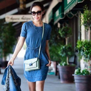 J. Crew Lightweight Washed Chambray Dress Size S